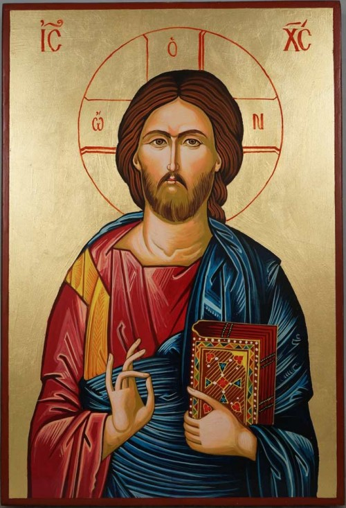 Jesus Christ Pantocrator Closed Book Hand Painted Byzantine Orthodox Icon Large