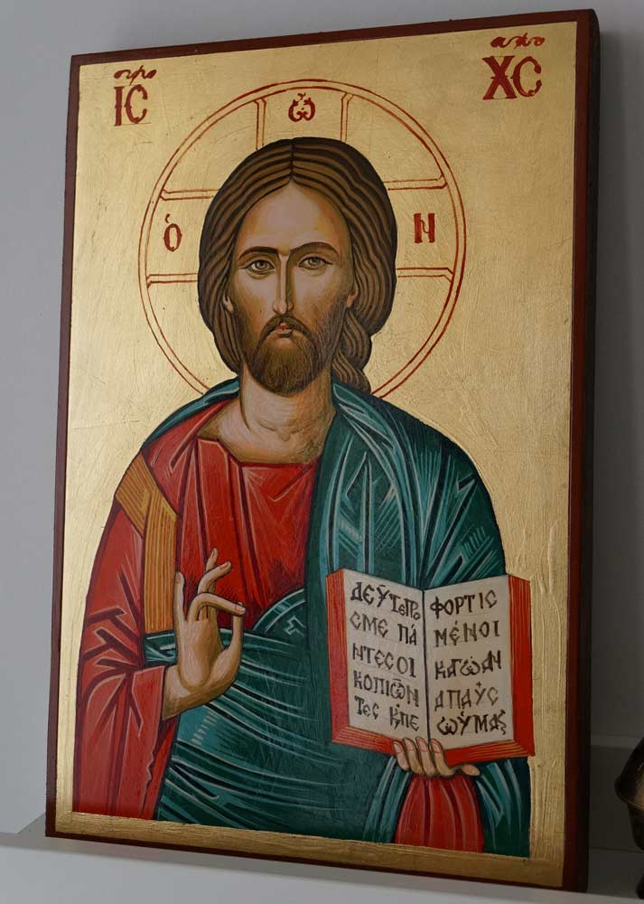 Jesus Christ Pantocrator Open Book Hand Painted Greek Orthodox Icon