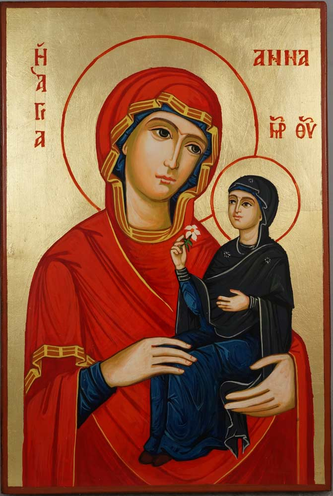 St Anne Holy Mother of Mary Hand Painted Byzantine Orthodox Icon on Wood
