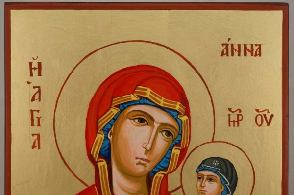 St Anne Holy Mother of Mary Hand Painted Orthodox Icon on Wood