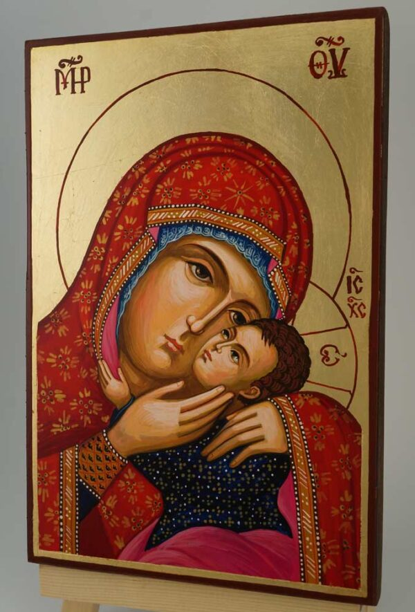 Theotokos Eleusa Icon Hand Painted Byzantine Orthodox