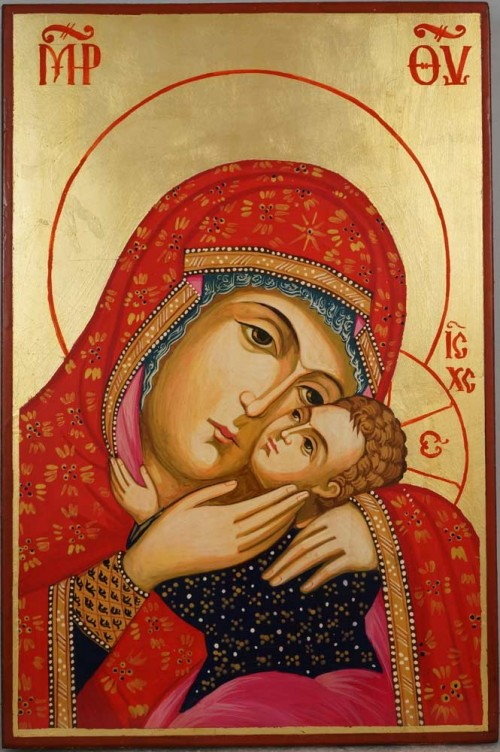 Theotokos Eleusa Large Virgin Mary Sweet Kissing Hand Painted Orthodox Icon on Wood
