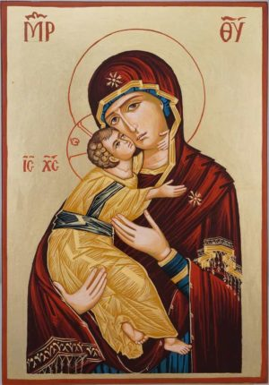 Theotokos of Vladimir Hand Painted Orthodox Icon on Wood