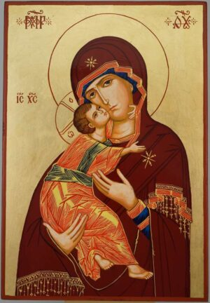 Theotokos of Vladimir Icon Hand Painted Byzantine Orthodox Large
