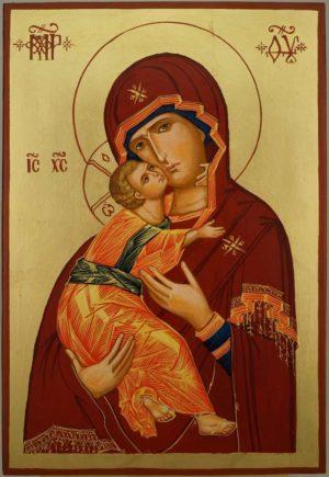 Theotokos of Vladimir Large Hand Painted Orthodox Icon on Wood