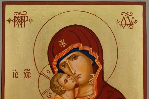 Theotokos of Vladimir Large Hand Painted Orthodox Icon on Wood