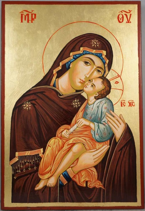 Hand-Painted Orthodox Icon of Virgin and Jesus Eleusa