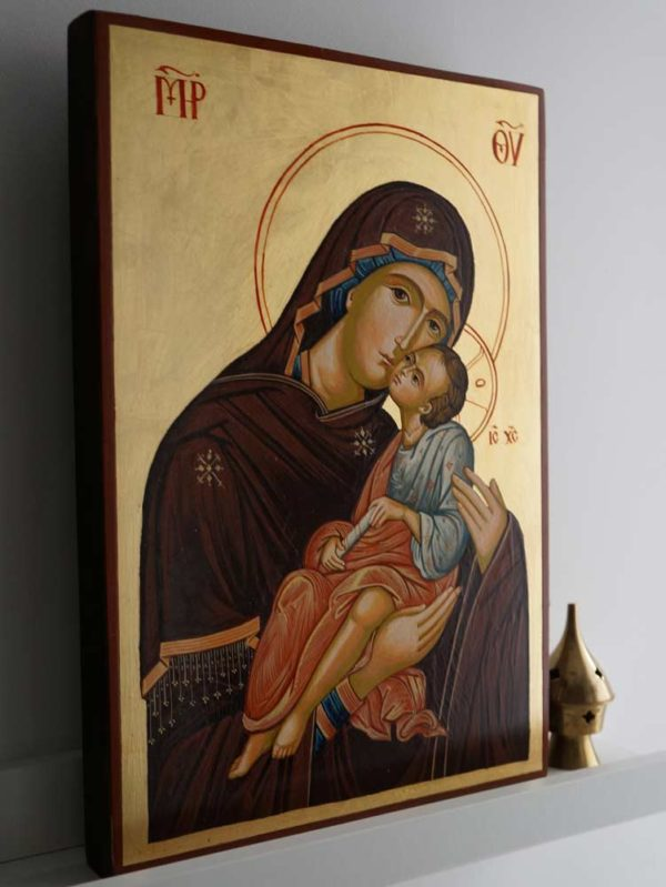Virgin and Jesus - Large Hand-Painted Orthodox Byzantine Icon