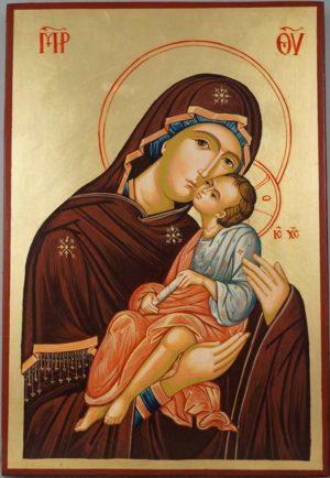Virgin and Jesus - Large Hand-Painted Orthodox Byzantine Iconv