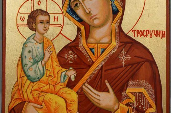 Three Handed Theotokos Hand Painted Orthodox Icon on Wood