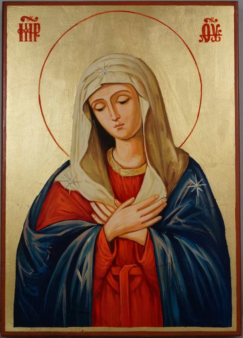 Virgin of Extreme Humility Hand Painted Orthodox Icon on Wood