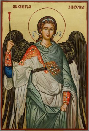 St Archangel Michael Icon Hand Painted Byzantine Orthodox Large