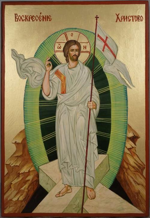 Resurrection of Jesus Christ Large Hand Painted Orthodox Icon