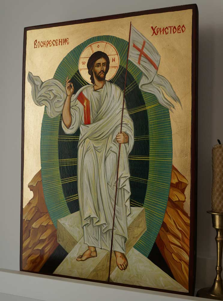 Resurrection of Jesus Christ Hand-Painted Byzantine Icon
