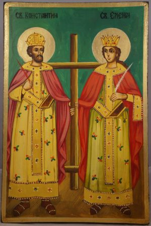 Sts Constantine and Helen Hand-Painted Byzantine Icon