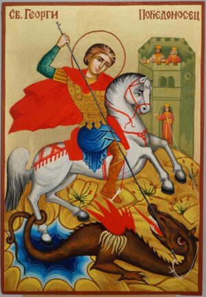 St George Slaying the Dragon Icon Hand Painted Byzantine Orthodox