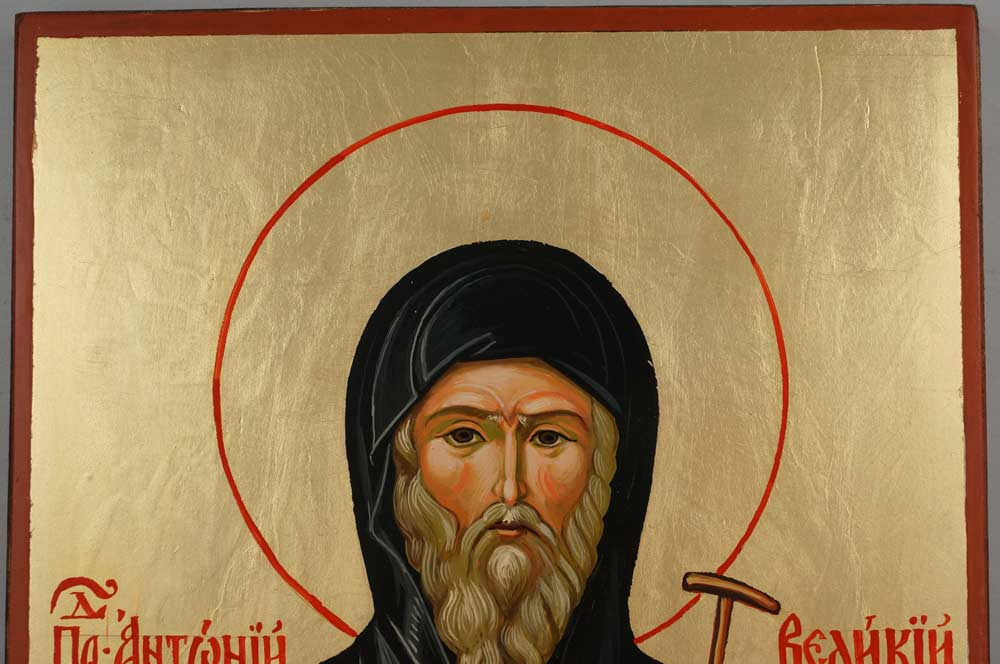 St Anthony the Great Large Hand Painted Orthodox Icon on Wood
