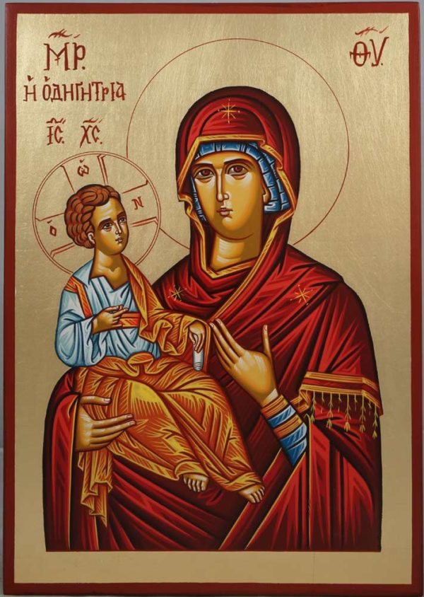 Theotokos Hodegetria Hand-Painted Byzantine Icon on Wood