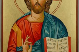 Jesus Christ Open Book Large Hand Painted Orthodox Icon on Wood