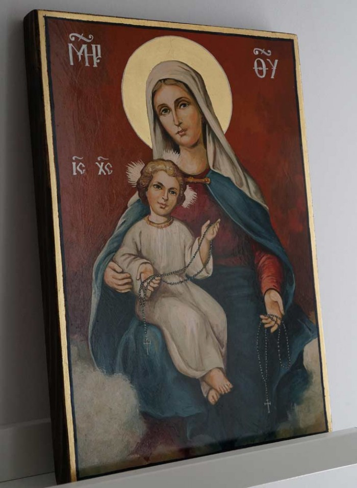 Our Lady of the Rosary Hand Painted Roman Catholic Icon