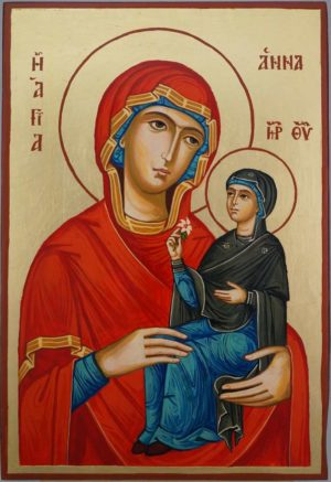 Saint Anne and Mary Large Hand Painted Orthodox Icon on Wood