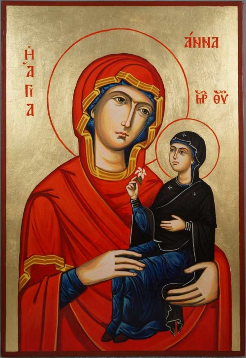 Saint Anne and Mary Anna Hand-Painted Byzantine Icon