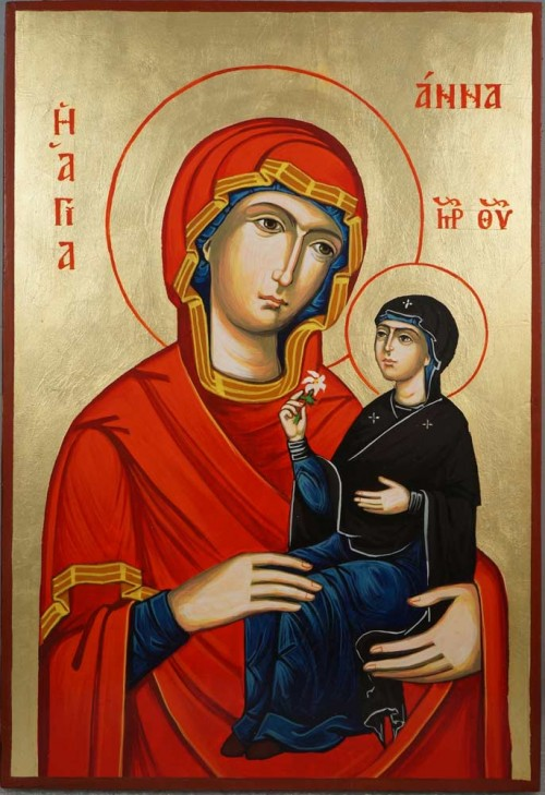Saint Anne and Mary Large Hand-Painted Orthodox Icon