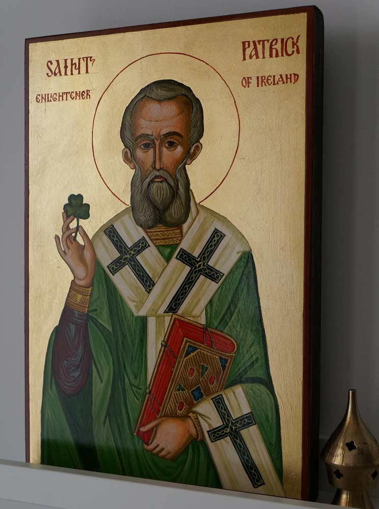 Hand-Painted Orthodox Icon of St Patrick of Ireland Large