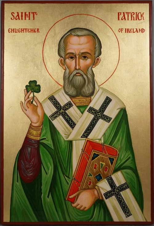 Saint St Patrick Enlightener of Ireland Hand Painted Orthodox Icon