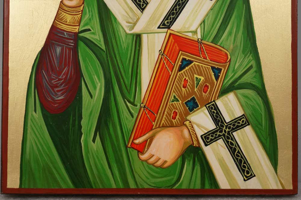 Saint St Patrick Enlightener of Ireland Hand Painted Orthodox Icon