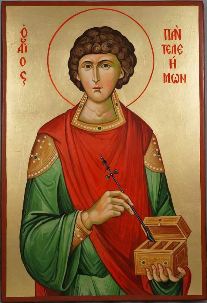 St Panteleimon Large Hand Painted Greek Orthodox Icon on Wood