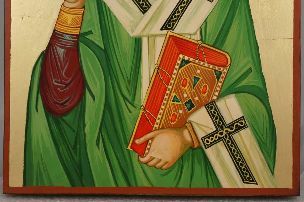 St Patrick of Ireland Large Hand Painted Orthodox Icon on Wood