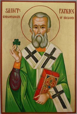 St Patrick of Ireland Large Icon Hand Painted Byzantine Orthodox