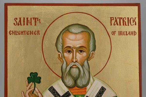 St Patrick of Ireland Large Icon Hand Painted Byzantine Orthodox