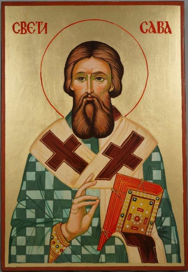 Saint Sava of Serbia Large Hand Painted Serbian Orthodox Icon