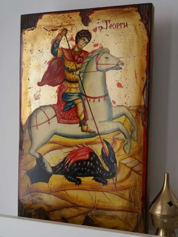George Slaying the Dragon Hand-Painted Icon