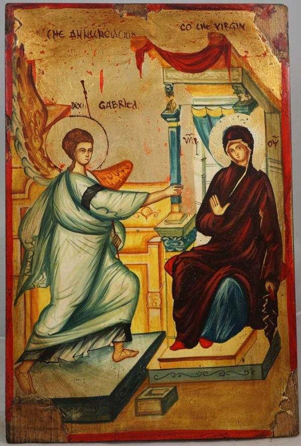 The Annunciation of Theotokos Hand-Painted Byzantine Icon