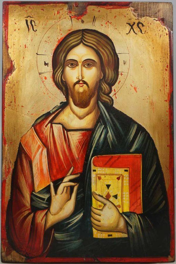 Jesus Christ Pantocrator Hand-Painted Orthodox Icon