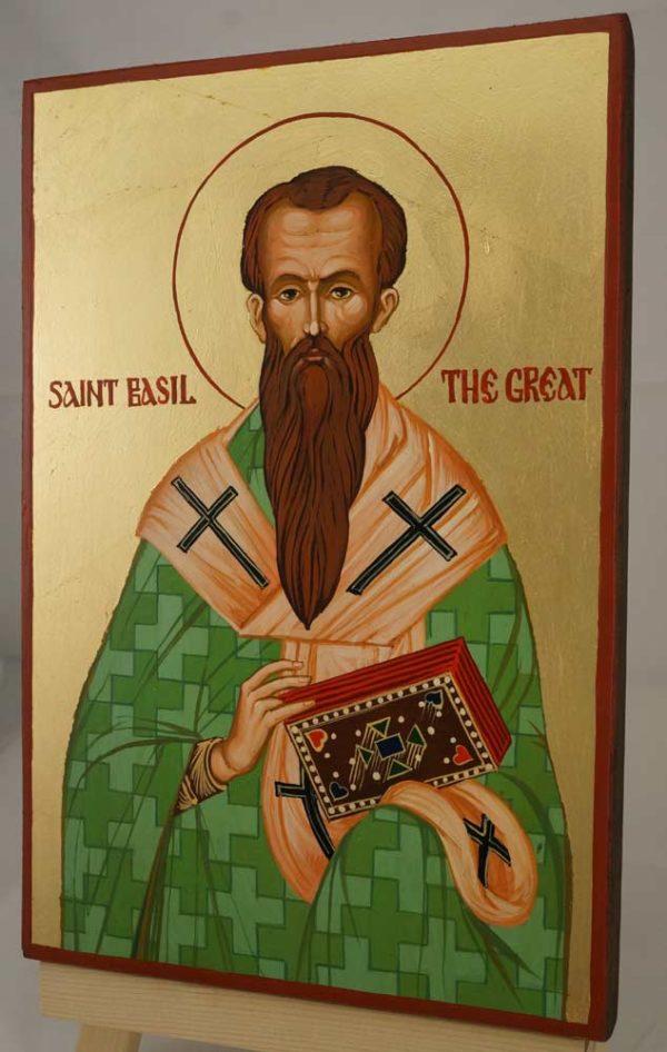 Saint Basil the Great Hand Painted Byzantine Orthodox Icon on Wood