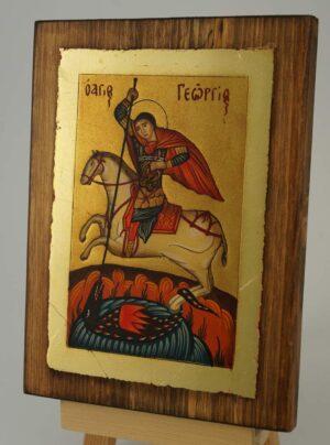 Saint George small Icon Hand Painted Byzantine Orthodox
