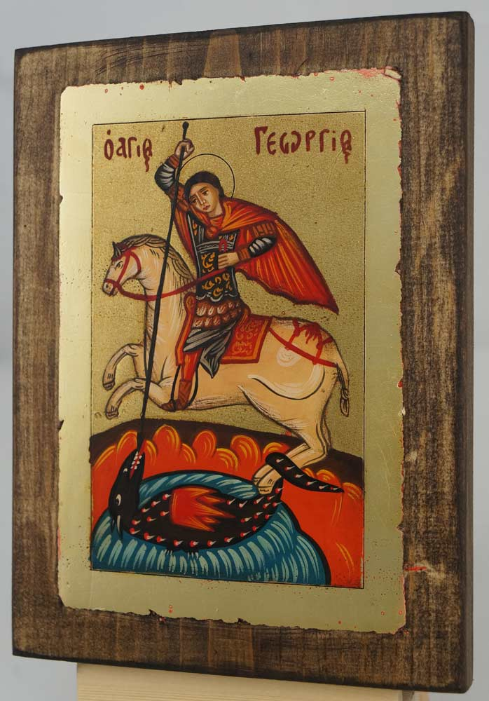 St George Slaying the Dragon small Hand Painted Icon Byzantine Orthodox