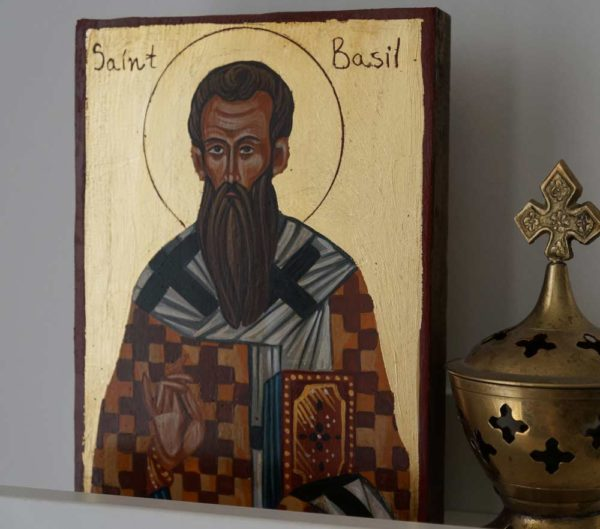 Saint Basil (small) the Great Hand-Painted Byzantine Icon