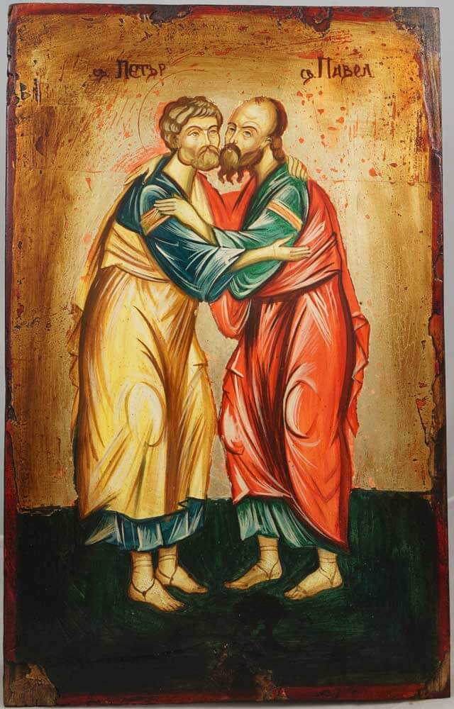 Hand-Painted Byzantine Icon of Sts Peter and Paul
