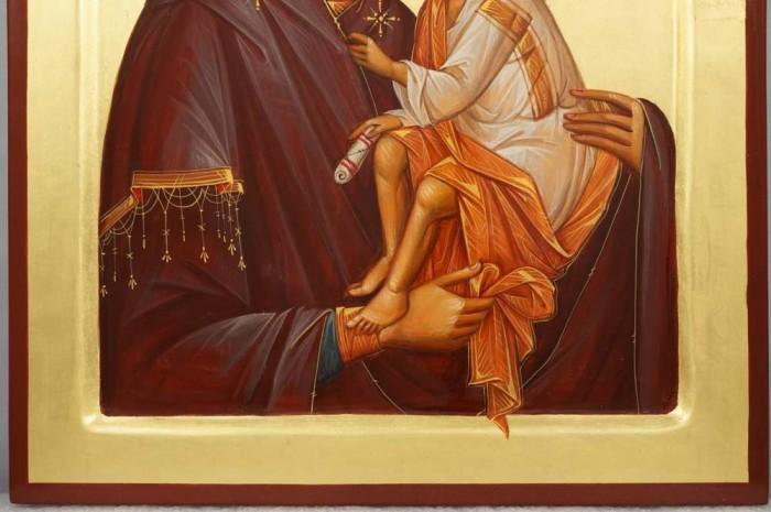 Theotokos Glykophilousa Eleusa Hand-Painted Byzantine Orthodox Icon