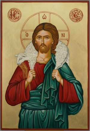 Jesus The Good Shepherd Icon Hand Painted Byzantine Orthodox Large