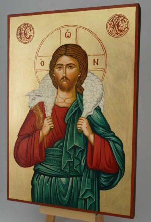 Jesus The Good Shepherd Icon Hand Painted Byzantine Orthodox Large