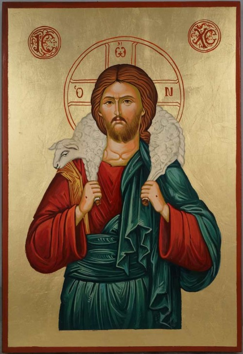 Jesus The Good Shepherd Large Hand Painted Byzantine Orthodox Icon