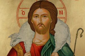 Jesus Christ the Good Shepherd Hand Painted Orthodox Icon SOLD