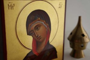 Theotokos Hand-Painted Byzantine Icon Miniature