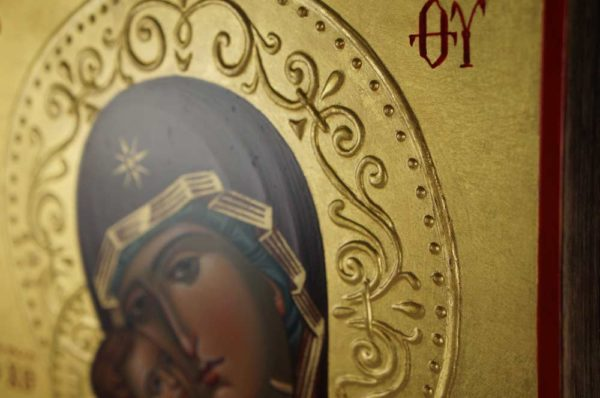 Vladimirskaya Hand-Painted Icon Relief